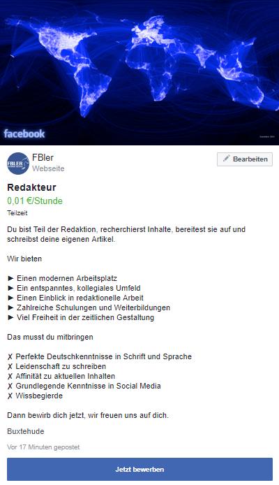 Arbeitssuchender Facebook