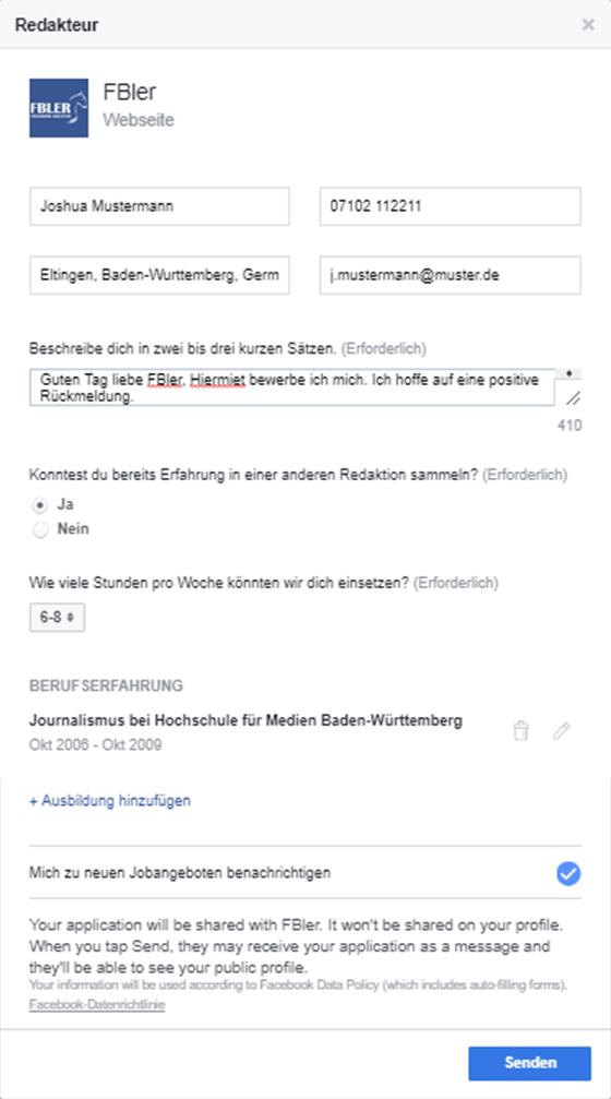 Facebook Jobanzeige erstellen