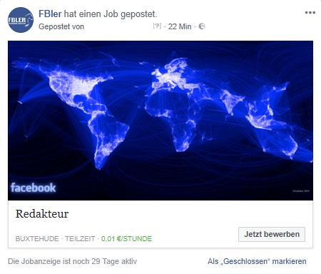 Stellenanzeige Facebook