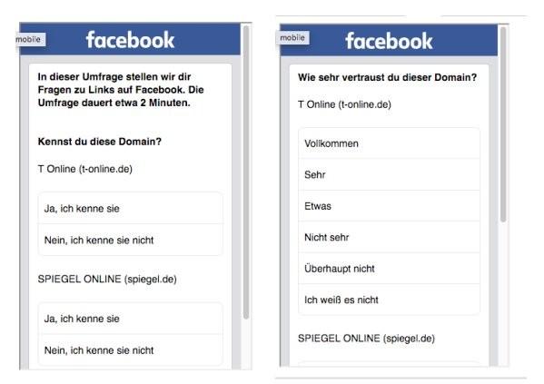 Befragung zur Vertrauenswürdigkeit von Quellen Facebook