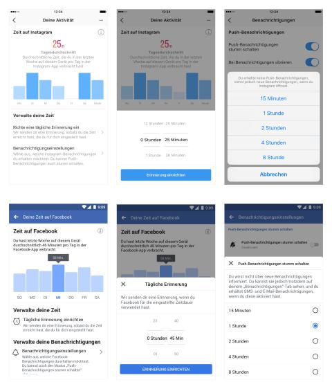 Zeittracking auf Facebook und Instagram