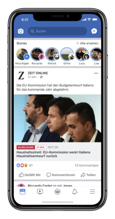 Facebook Eilmeldung 2