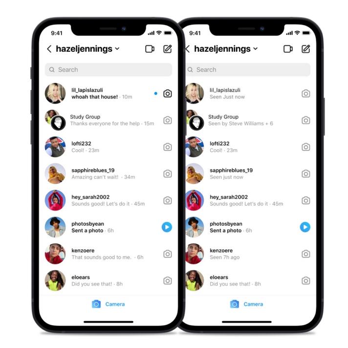 Instagram inbox seen states feature